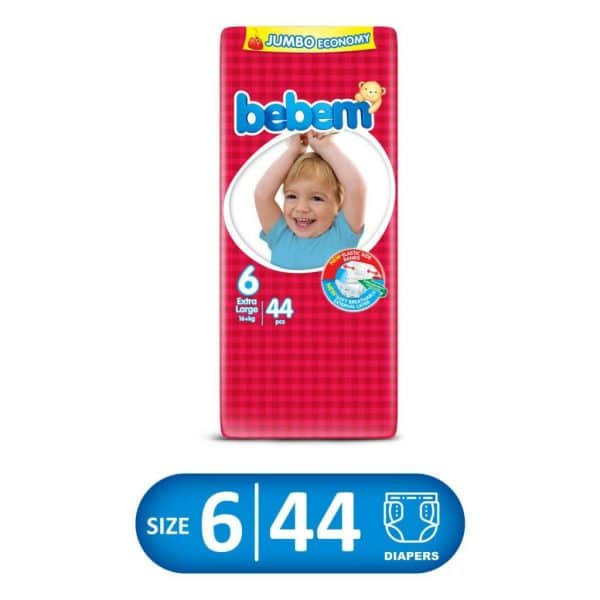 The Bebems dry and soft layer ensures the dry and soft nature of skin through causing the fluid to penetrate into the lower layer. The superb absorbent layer absorbs and thus confines the fluid where the impermeable barriers avoid the escape of the fluid, the adhesive bands allow more frequent checking and protection of the babys bottom.