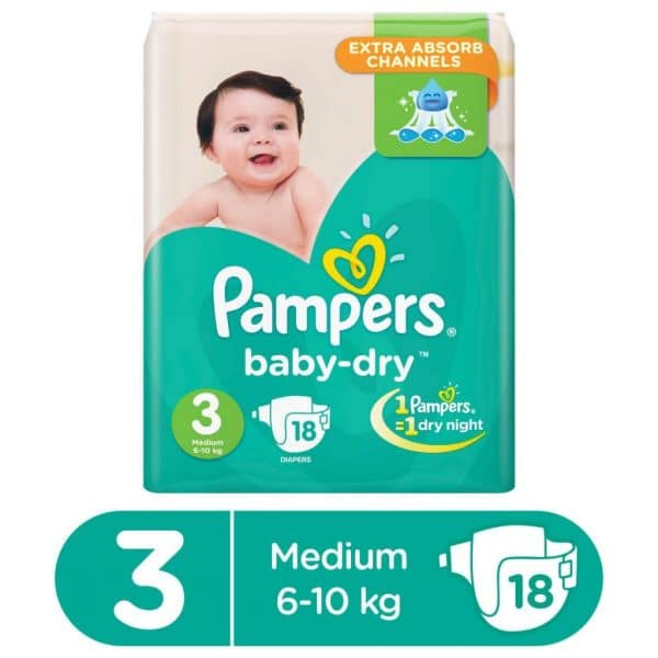 PAMPERS VALUE PACK BABY DRY DIAPERS MEDIUM SIZE 3 (18 COUNT)